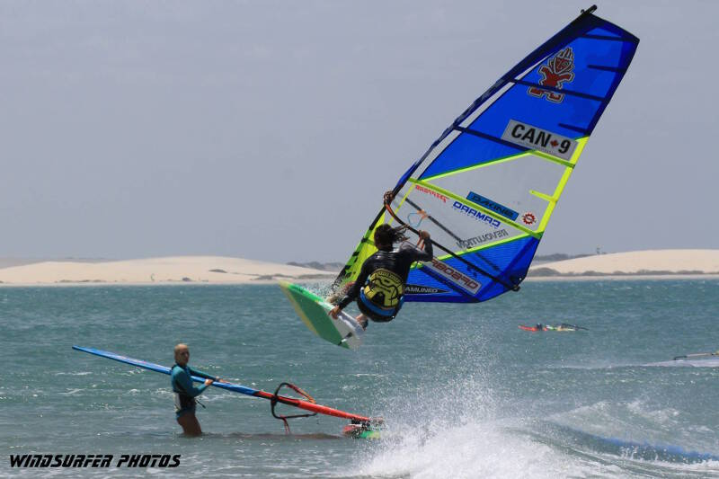 Phil Soltysiak rail grab in Jericoacoara. Photo by Windsurfer Photos.