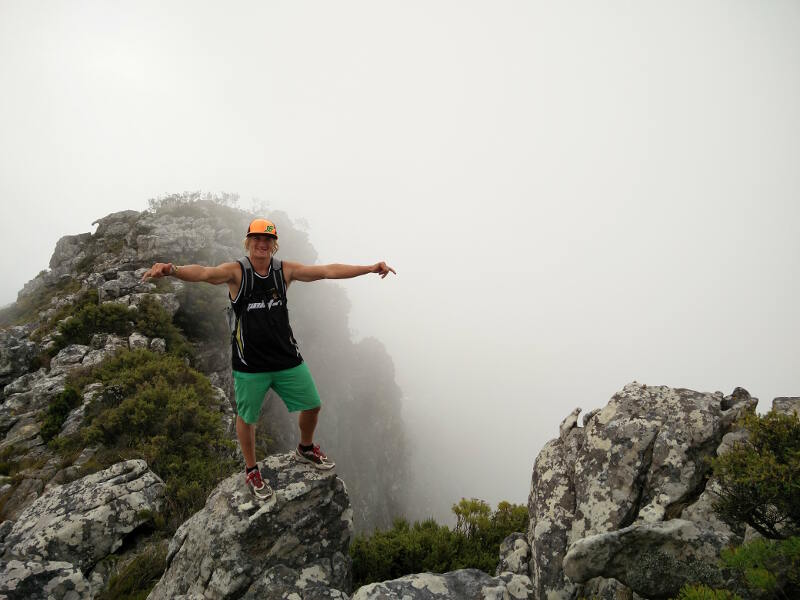 Yentel near the top of Devil's Peak. He has no fear of heights!