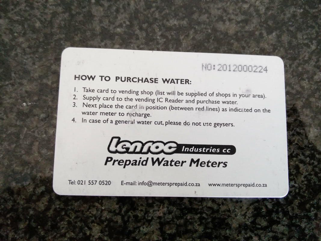 Interesting fact - you have to pre-pay your electricity and water in Cape Town!