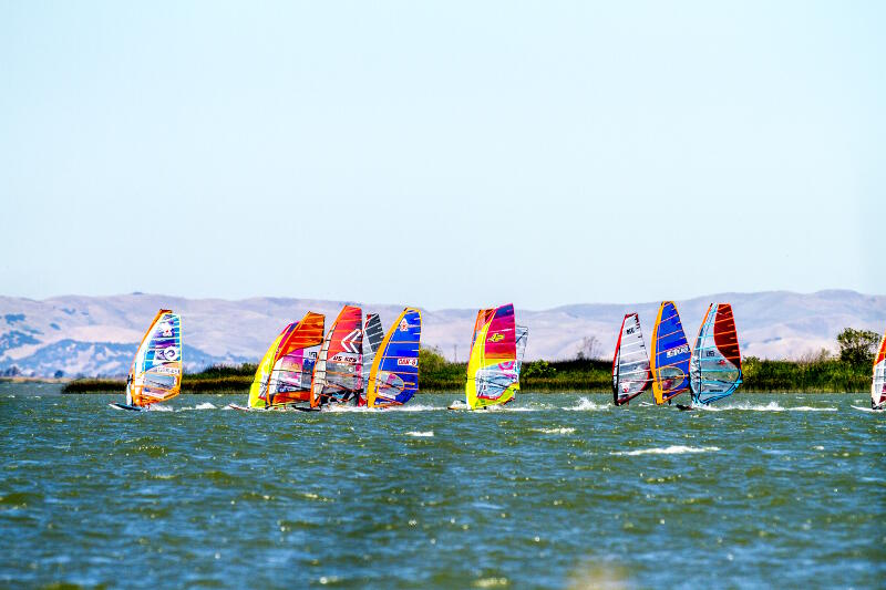 Slalom race start with Phil Soltysiak, Tyson Poor, Diony Guadagnino, Wyatt Miller, Xavier Ferlet, Jason Voss, Bryan Metcalf Perez at the 2017 Rio Vista Grand Slam. Photo by Lucky Beanz.
