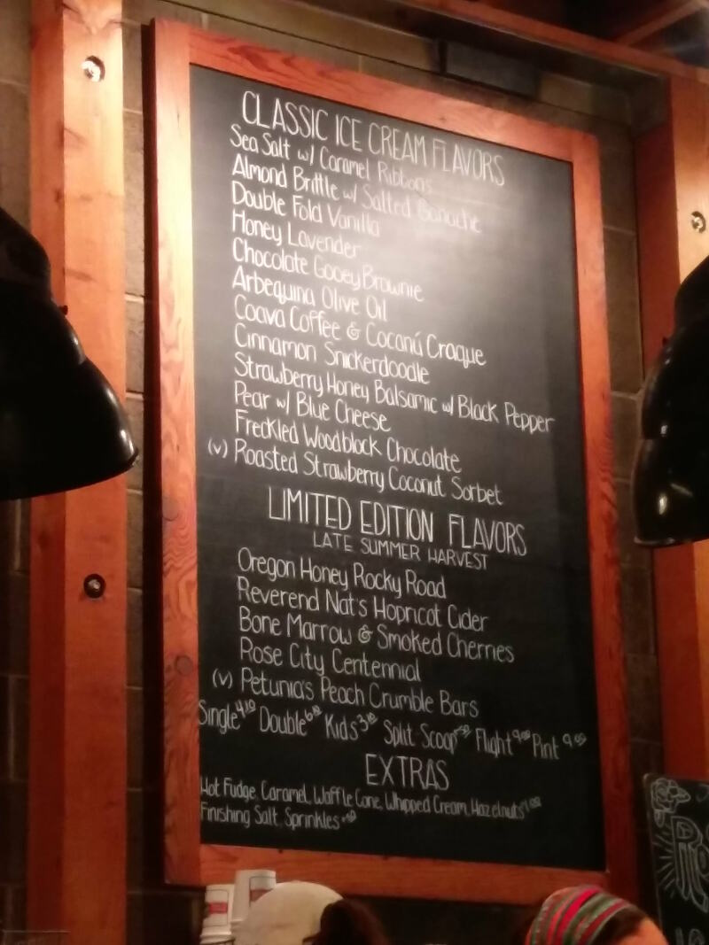 Spot any crazy flavours? Salt and Straw Ice Cream menu in Portland.