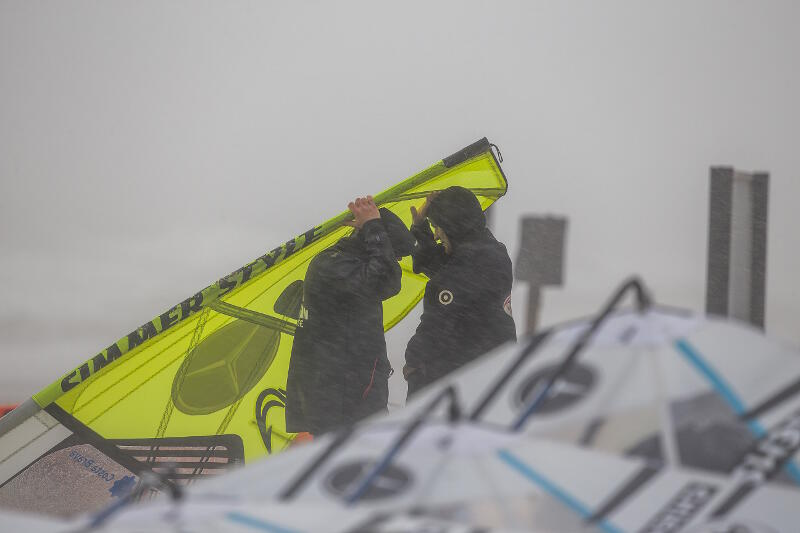 Rainy times in Sylt Germany for the PWA event. Photo by John Carter.