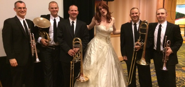 Cartoonist and newlywed Simon Hanselmann with the brass quintet. Photo by Jacq Cohen.