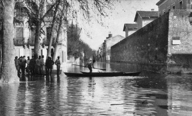 Inondation de 1930 - Prison et rue de Strasbourg ©photo archive Patrick Clermont