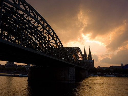 Dom and rail bridge Rhine sunset