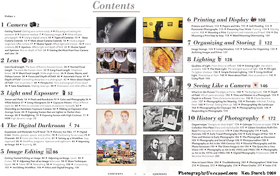 "The 'Contents' pages of ""A Short Course in Digital Photography"""