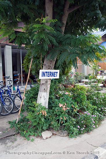 Internet sign in Sukhothai, Thailand