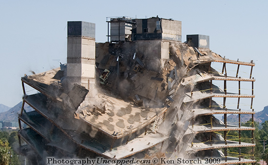 The Top of the Qwest Building Collapsing