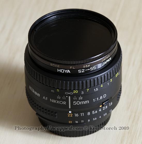 52mm to 55mm Step-Up Filter Ring Adapter on a Nikon 50mm 1.8 AF-D Lens