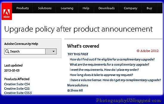 Adobe Upgrade Policy - Am I Elgible? Complimentary CS6 Upgrade?