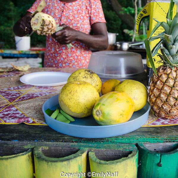 Fresh fruit for sale on Winnifred Beach in Portland, Jamaica. (Emily Naff)