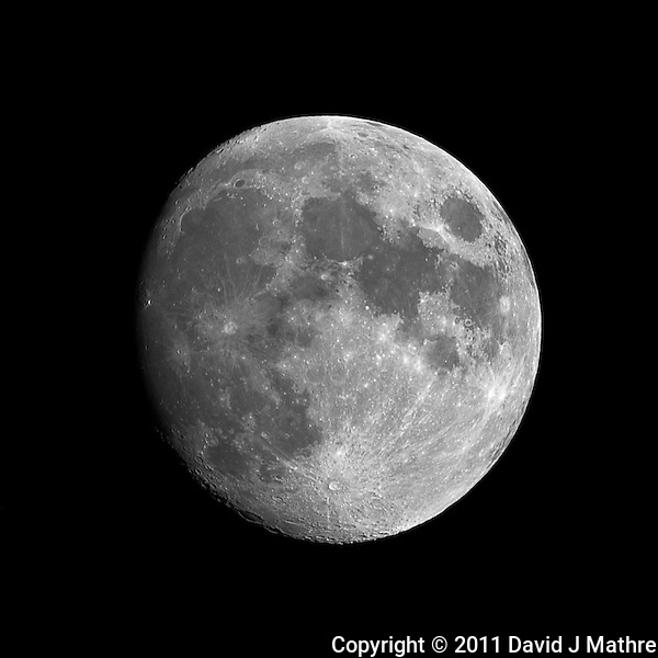 Waxing Gibbous Moon (85%). Summer Night in New Jersey. Image taken with a Nikon D3s and 600 mm f/4 VR lens + TC-E III 20 teleconverter (ISO 200, 1200 mm, f/16, 1/50 sec). Raw image processed with Capture One Pro 6, Nik Define 2, and Photoshop CS5 (David J Mathre)