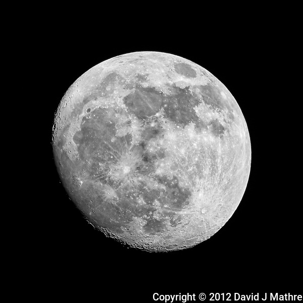 Waxing Gibbous Moon. Image taken with a Nikon 1 V1 camera, FT1 adapter, and 600 mm f/4 VR lens (ISO 100, 600 mm, f/8, 1/100 sec). With this sensor, the field of view (FOV) is equivalent to a 1620 mm lens on a 35 mm DSLR. (David J Mathre)
