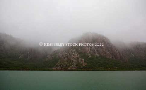 Waterfalls appear everywhere as storms hit Dugong Bay on the Kimberley coast in the wet season. (Annabelle Sandes/© Annabelle Sandes | Kimberley Media 2011)
