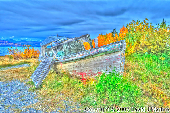Derelict Fishing Boat HDR at Burwash Landing, Yukon Canada. On Kluane Lake along the Alaska Canada Highway. Composite of 3 images taken with a Nikon D3 and 14-24 mm lens (ISO 800, 24 mm, f/8). HDR Processed with Photomatix Pro. (David J Mathre)