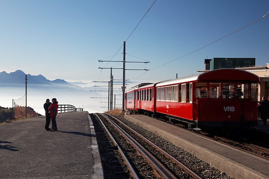 Red cog rail train car on summit of Mount Rigi, Switzerland, Europe (Brad Mitchell)