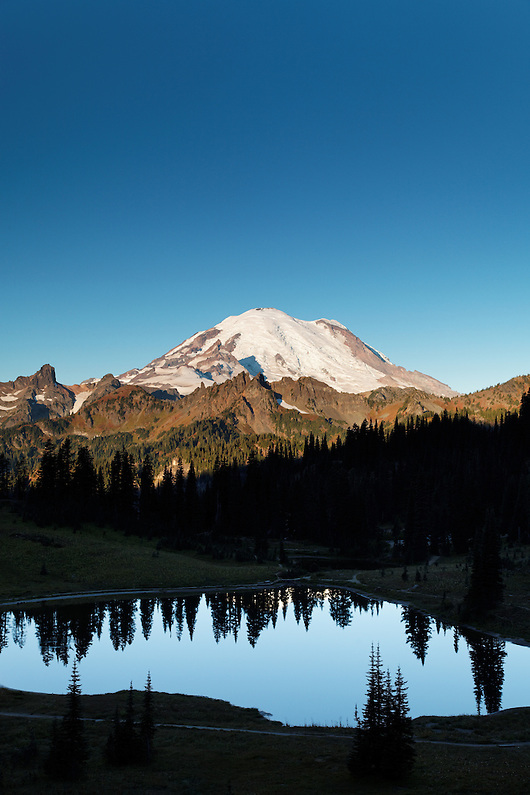 Mount Rainier reflected in Tipsoo Lake on a calm autumn morning, Mount Rainier National Park, Washington