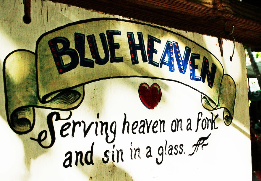 Welcome sign at Blue Heaven