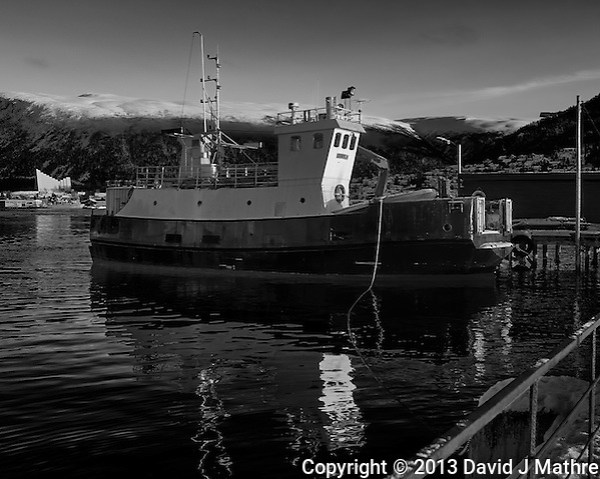 Lenvik fishing trawler docked in Tromsø, Norway. Image taken with a Leica X2 camera (ISO 100, 24 mm, f/5.6, 1/250 sec). Raw image processed with Capture One Pro (including conversion to B&W). (David J Mathre)