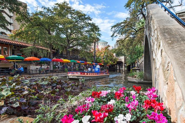 Here is another image of the San Antonio river walk cityscape in the downtown area taken near the pedestrian bridge with the lovely flower and a riverboat on it way to pick up passengers as it floats along in front ot Cafe Rio. (Tod Grubbs & Cynthia Hestand)