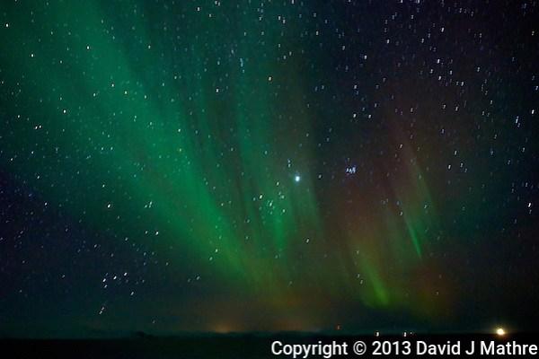 Northern Lights While Sailing North on the Hurtigruten MV Nordkapp. Image taken with a Nikon D800 and 24 mm f/1.4G lens (ISO 6400, 24 mm, f/2.8, 4 sec). (David J Mathre)