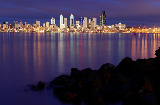 Seattle skyline reflecting in Elliot Bay viewed from West Seattle, Seattle, Washington, USA (Brad Mitchell/Brad Mitchell Photography)