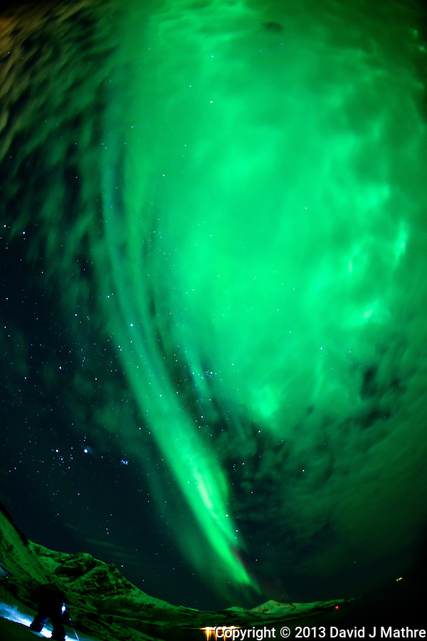 Northern Lights in Tromvik, Norway. Image taken with a Nikon D800 and 16 mm f/2.8 fisheye lens (ISO 1000, 16 mm, f/2.8, 15 sec). (David J Mathre)