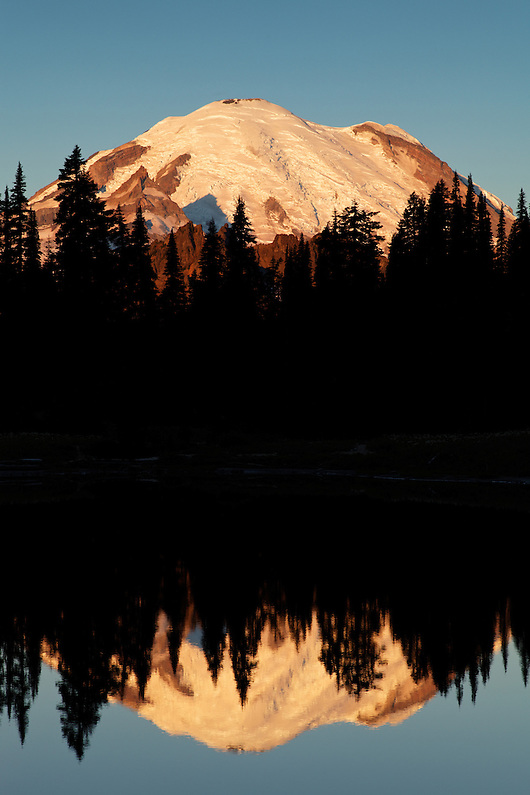 Mount Rainier reflected in Tipsoo Lake during a calm sunrise, Mount Rainier National Park, Washington