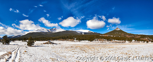 Winter road in Colorado. Panorama of Longs Peak to Estes Cone. Composite of five images taken with a Nikon D3 camera and 24-70 mm f/2.8 lens (ISO 200, 24 mm, f/16, 1/250 sec). Raw images processed with Capture One Pro and the composite generated using AutoPano Giga Pro. (David J Mathre)
