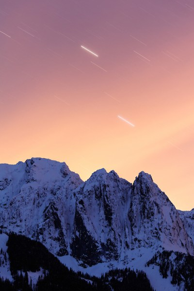 Star trails in night-time sky over Mount Index, Central Washington Cascade Mountains, Snohomish County, Washington, USA (Copyright Brad Mitchell Photography.9601 Wall St.Snohomish, WA 98296.USA.425-418-7279.brad@bradmitchellphoto.com)