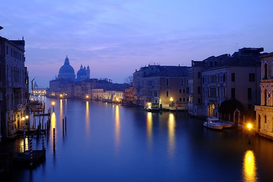 Morning breaks over the Grand Canal, viewed from Accademia Bridge, Venice, Italy (Brad Mitchell Photography)
