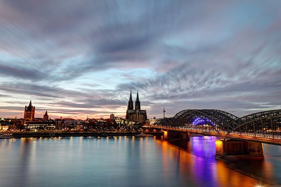 Cologne skyline and Hohenzollern Bridge over Rhine River, Cologne, Germany, Europe (Brad Mitchell)