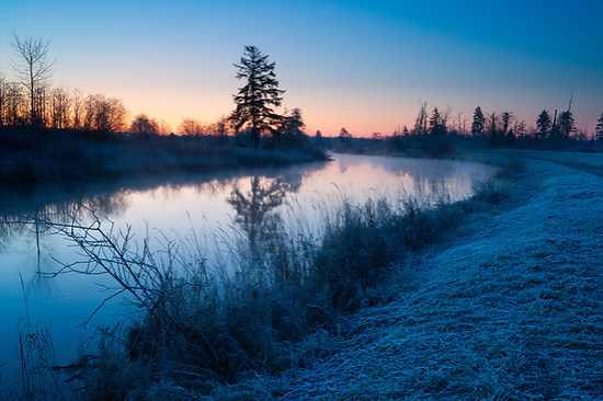 Sun rises Union Slew and Spencer Island, Spencer Island, Snohomish Country Parks & Recreation, Everett, Washington (Brad Mitchell Photography)