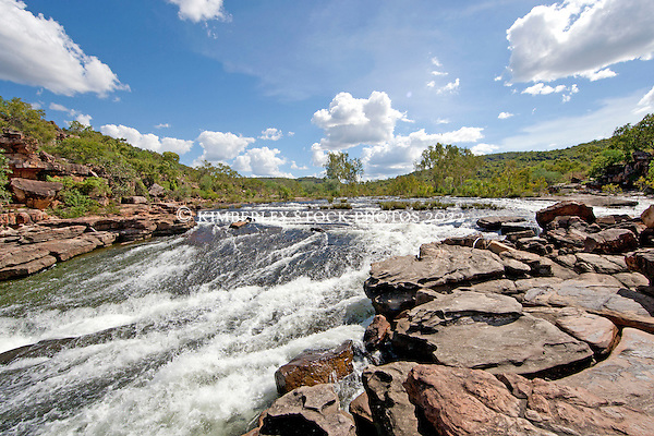 Water cascades down a small set of rapids on the Roe River in Western Australia's Kimberley. (Richard Costin/Kimberley Media)