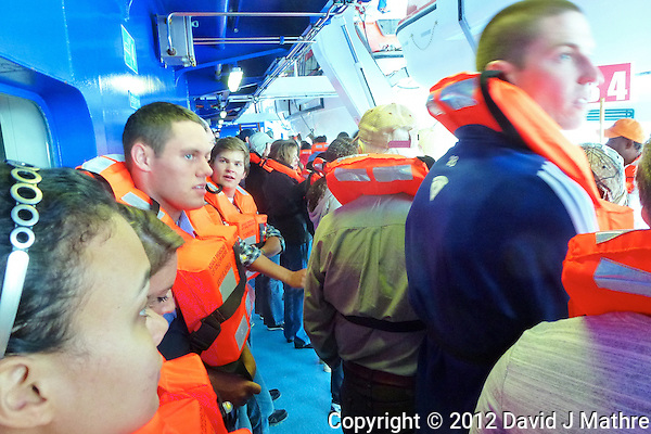 Evacuation/Lifeboat Drill. Image taken with a Leica V-Lux 30 camera (ISO 400, 4.3 mm, f/4, 1/15 sec) (David J Mathre)
