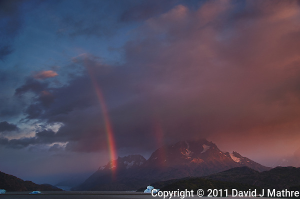 Early Morning Rainbow, Lago Grey, Torres del Paine, Chile. Image taken with a Nikon D3s and 28-120 mm f/4 lens (ISO 200, 31 mm, f/5.6). HDR composite of 4 images using NIK HDR Pro (David J Mathre)