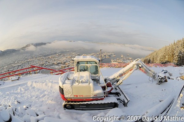 Winter View of Bergen from the top of Mount Fløyen. Image taken with a Nikon Dxs and 10.5 mm f/2.8 fisheye lens (ISO 200, 10.5 mm, f/8, 1/250 sec) (David J. Mathre)