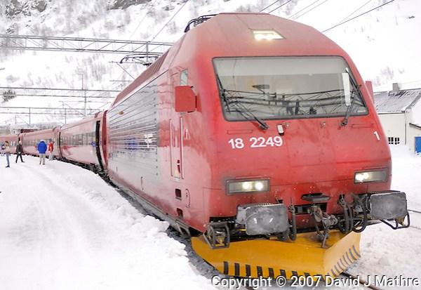 Bergen Railroad Engine at Finse, Norway. Image taken with a Nikon D2xs and 28-70 mm f/2.8 ens (ISO 100, 28 mm, f/2.8, 1/60 sec) (David J. Mathre)