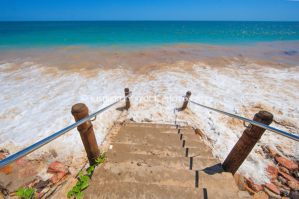 Waves cover the steps to the beach on a super high tide at Cable Beach. (Annabelle Sandes/© Annabelle Sandes | Kimberley Media 2012)