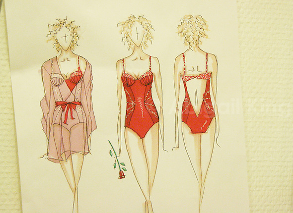 Fashion Sketches for a Sparkly Bra from a Costume Designer