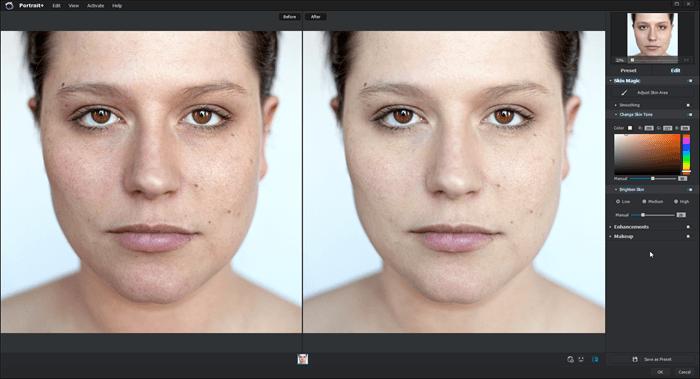 Skin tone in Portrait+