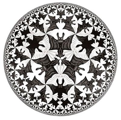 埃舍爾 escher 視覺 錯覺 藝術 數學 非歐幾何 龐加萊