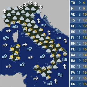 Meteo, previsti forti temporali per lunedì 8 febbraio