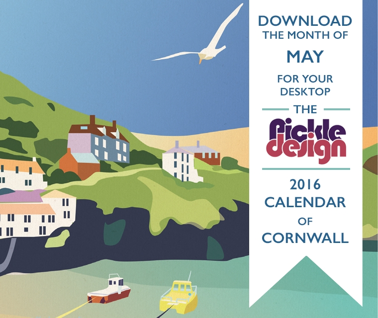 Our illustration of Port Isaac on May 2016's Pickle Calendar