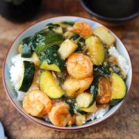 Shrimp Ankake Donburi (with Zucchini and Potatoes)