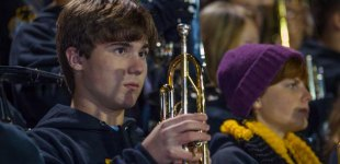 Trumpet section at Charlotte Catholic football game.