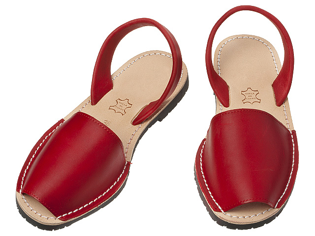 Red leather summer sandals.