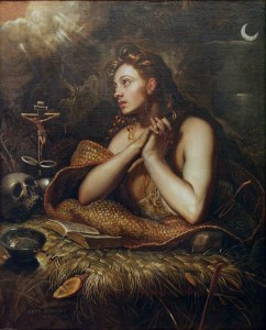 Domenico Tintoretto: The Penitent Magdalene. Apparently this is what penance used to look like: skulls and sackcloth.