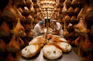 Parma ham curing process, Langhirano, 2014.