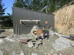 Mixing concrete is a good way to keep fit